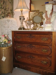 Victorian Burled Walnut/Marble Top Chest